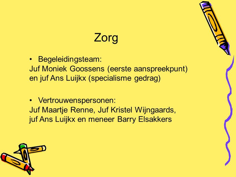 Zorg Begeleidingsteam: Juf Moniek Goossens (eerste aanspreekpunt)