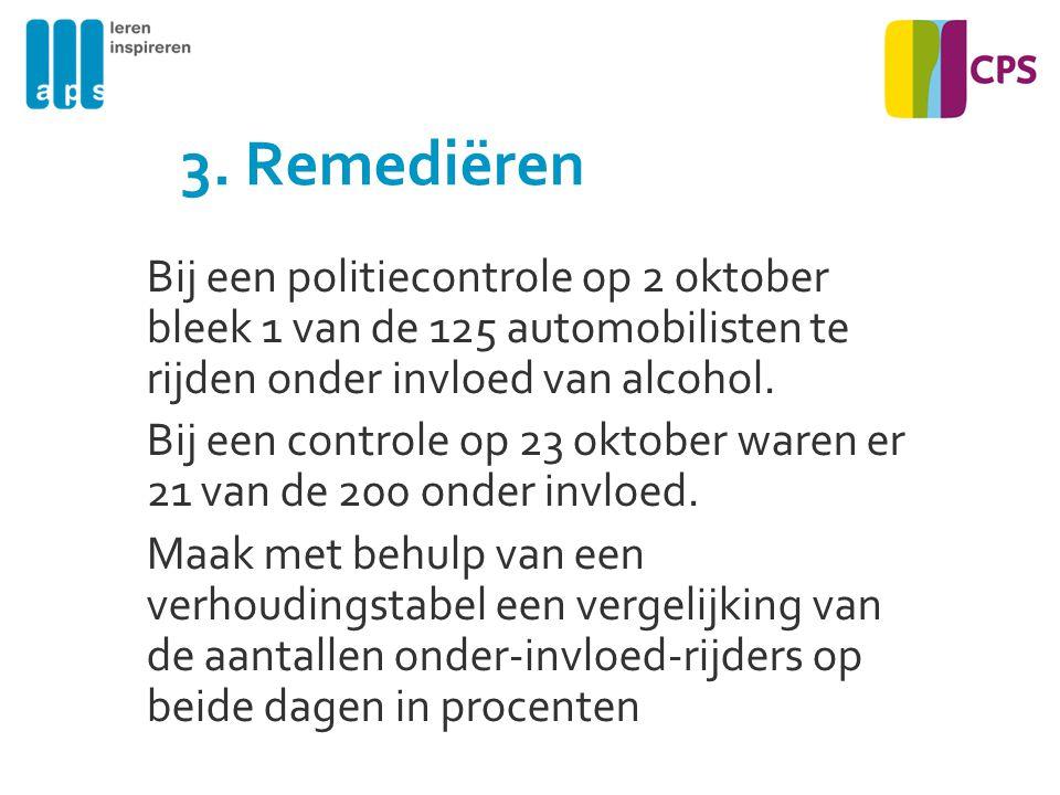 3. Remediëren Bij een politiecontrole op 2 oktober bleek 1 van de 125 automobilisten te rijden onder invloed van alcohol.