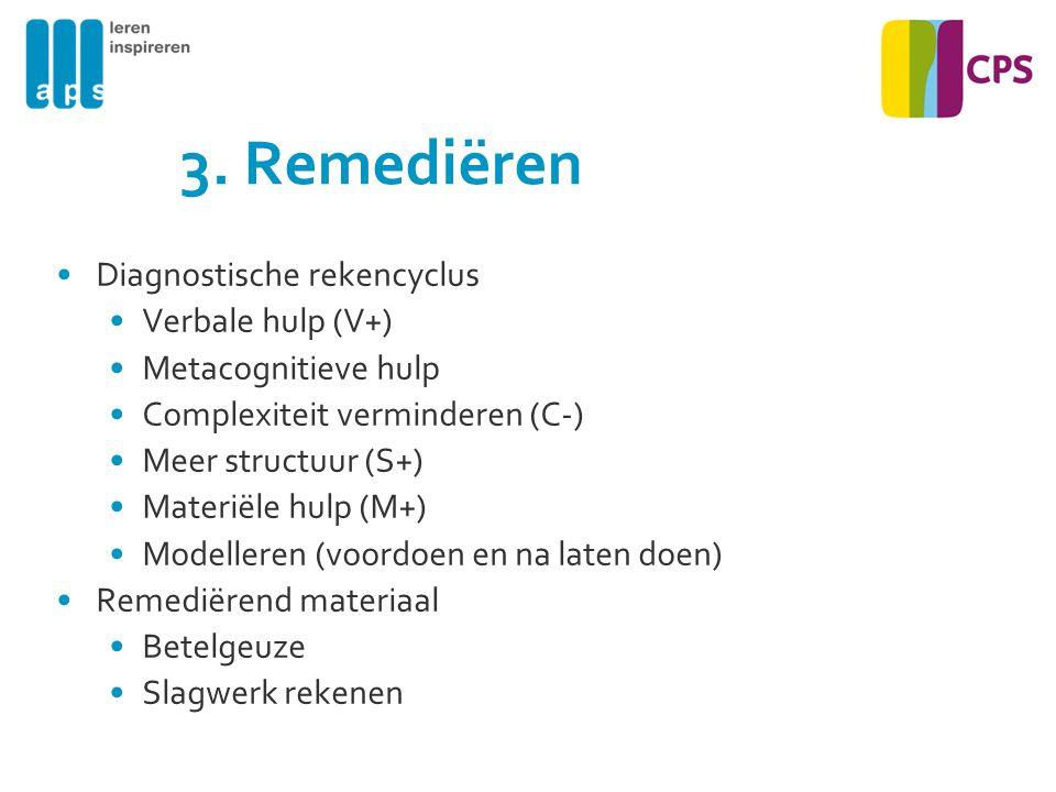 3. Remediëren Diagnostische rekencyclus Verbale hulp (V+)