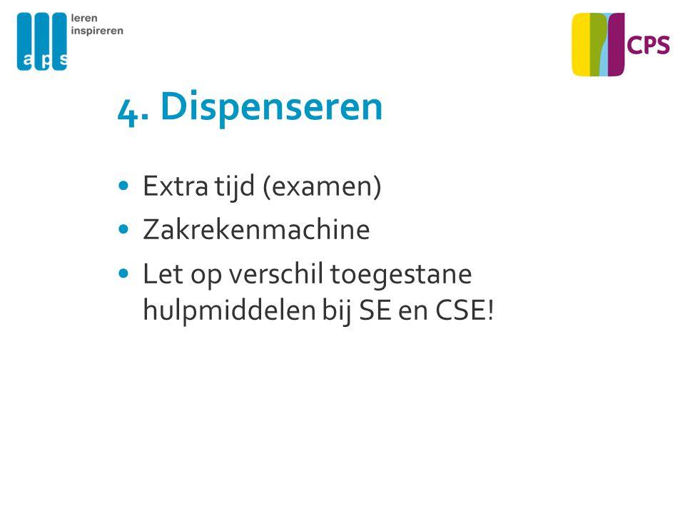 4. Dispenseren Extra tijd (examen) Zakrekenmachine