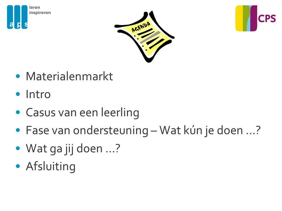 Materialenmarkt Intro. Casus van een leerling. Fase van ondersteuning – Wat kún je doen … Wat ga jij doen …