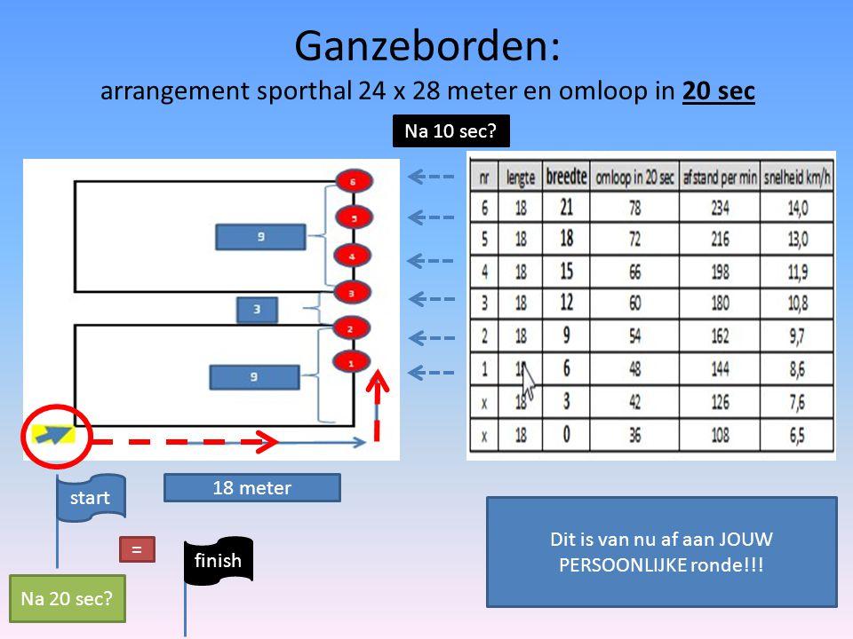 Ganzeborden: arrangement sporthal 24 x 28 meter en omloop in 20 sec