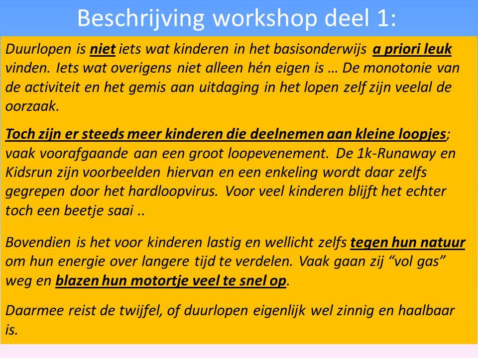 Beschrijving workshop deel 1: