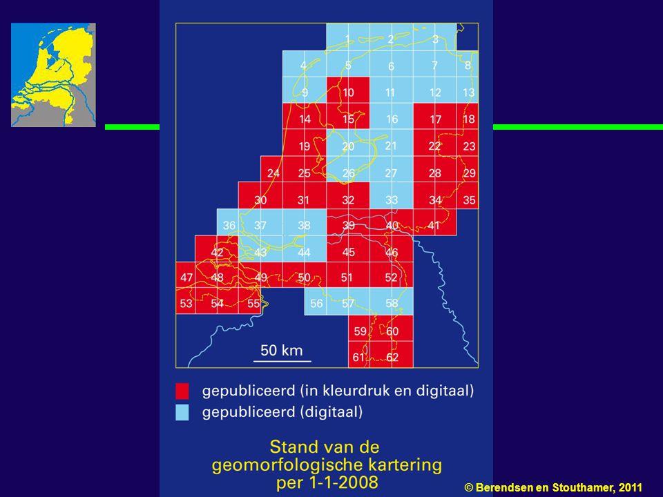 Figuur 10.1 Beschikbare kaartbladen van de geomorfologische kaart van Nederland per 1-1-2008.
