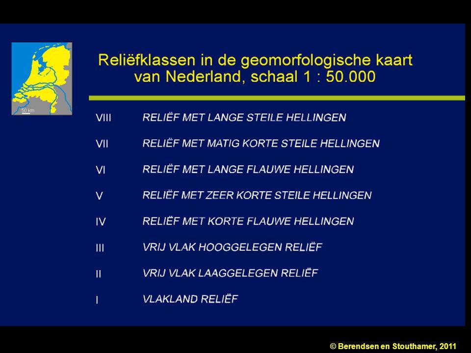 Figuur 10.2a Deel van de legenda van de geomorfologische kaart van Nederland, schaal 1 : 50.000. De hoofdingangen zijn: reliëf (reliëfklassen) en terreinvormen (vormgroepen). Naar Ten Cate & Maarleveld (1977).