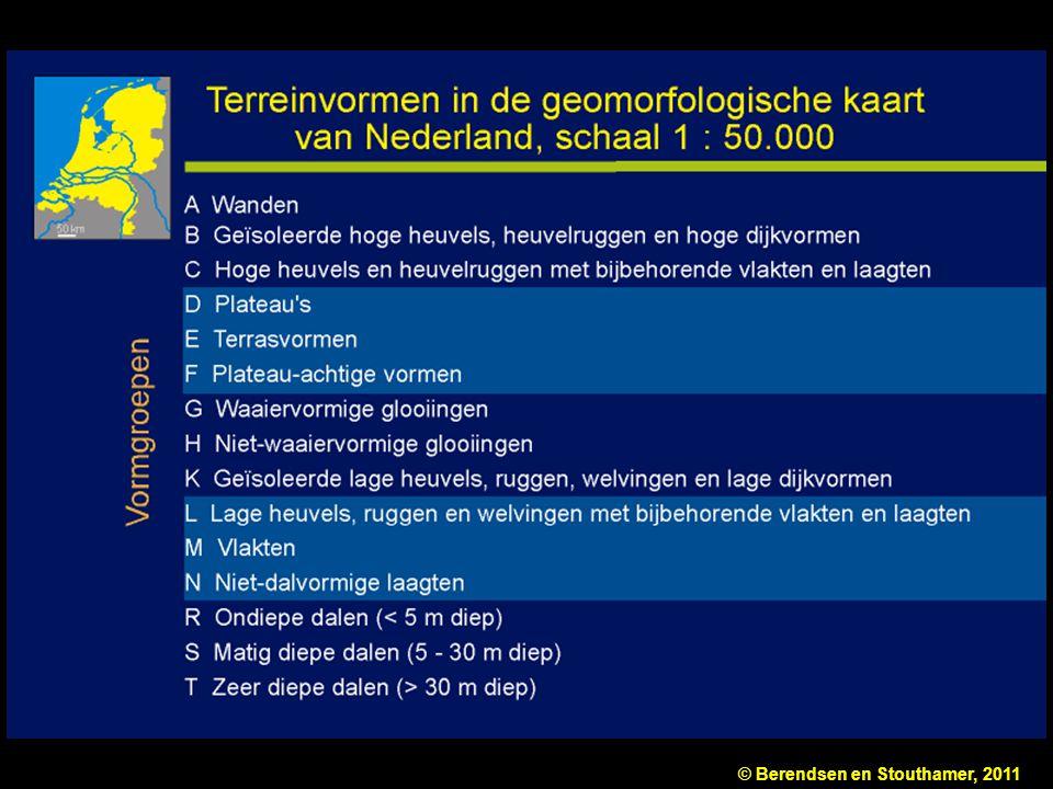 Figuur 10.2b Deel van de legenda van de geomorfologische kaart van Nederland, schaal 1 : 50.000. De hoofdingangen zijn: reliëf (reliëfklassen) en terreinvormen (vormgroepen). Naar Ten Cate & Maarleveld (1977).