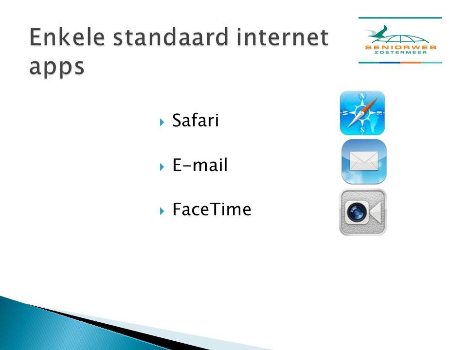 Enkele standaard internet apps