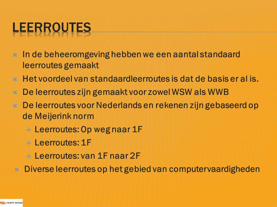 Leerroutes In de beheeromgeving hebben we een aantal standaard leerroutes gemaakt. Het voordeel van standaardleerroutes is dat de basis er al is.