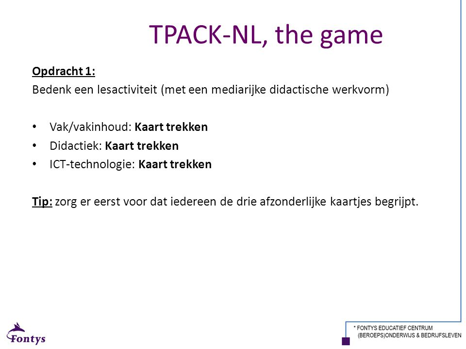 TPACK-NL, the game Opdracht 1: