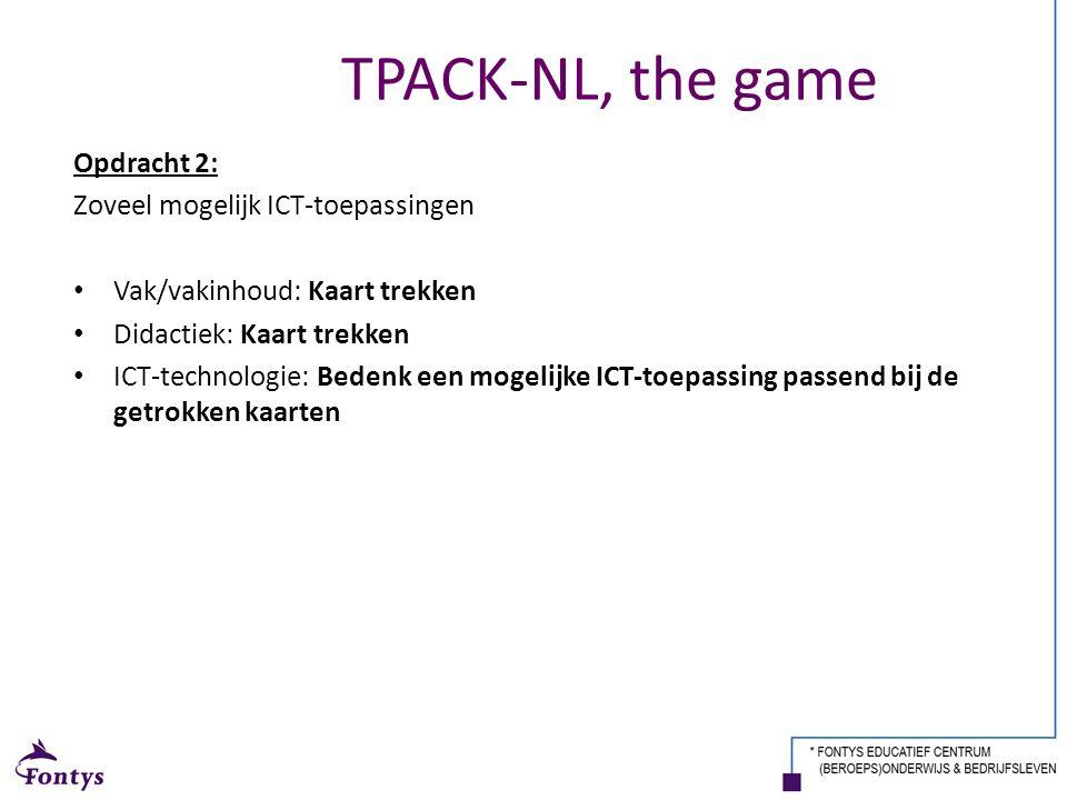 TPACK-NL, the game Opdracht 2: Zoveel mogelijk ICT-toepassingen