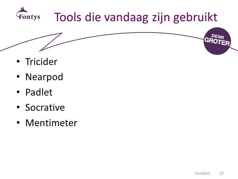 Tools die vandaag zijn gebruikt