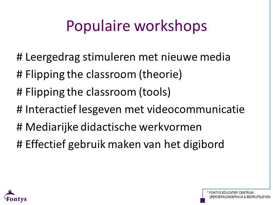 Populaire workshops