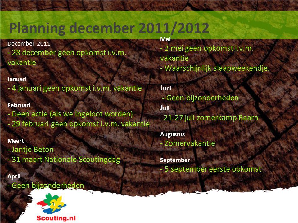 Planning december 2011/2012 - Waarschijnlijk slaapweekendje.
