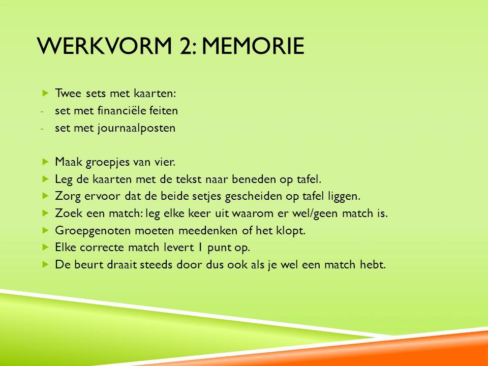Werkvorm 2: Memorie Twee sets met kaarten: set met financiële feiten