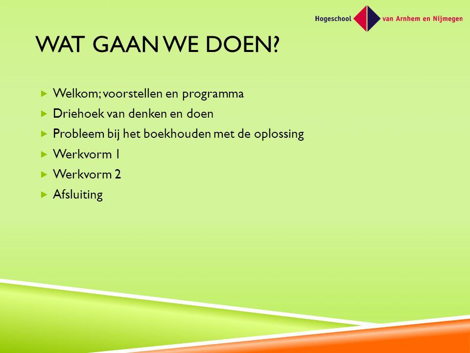 Wat gaan we doen Welkom; voorstellen en programma