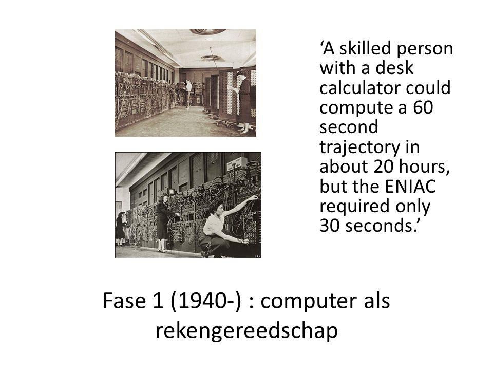 Fase 1 (1940-) : computer als rekengereedschap