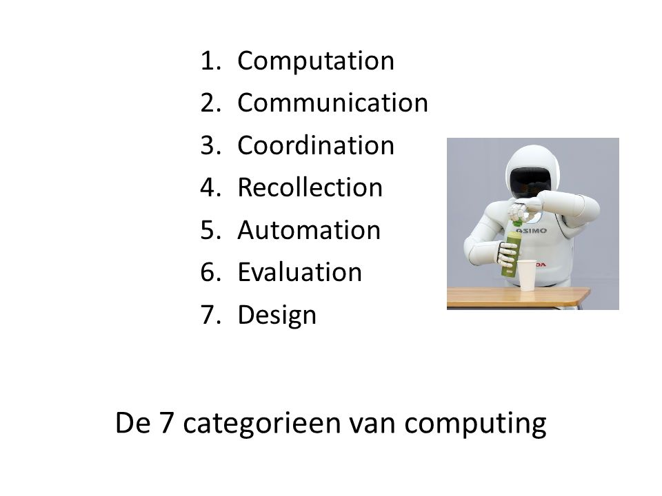 De 7 categorieen van computing