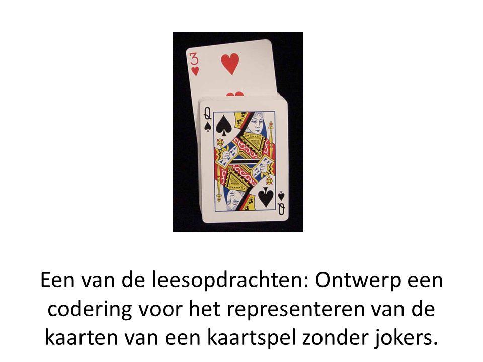 Een van de leesopdrachten: Ontwerp een codering voor het representeren van de kaarten van een kaartspel zonder jokers.