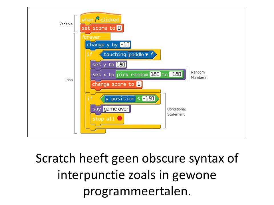 Scratch heeft geen obscure syntax of interpunctie zoals in gewone programmeertalen.