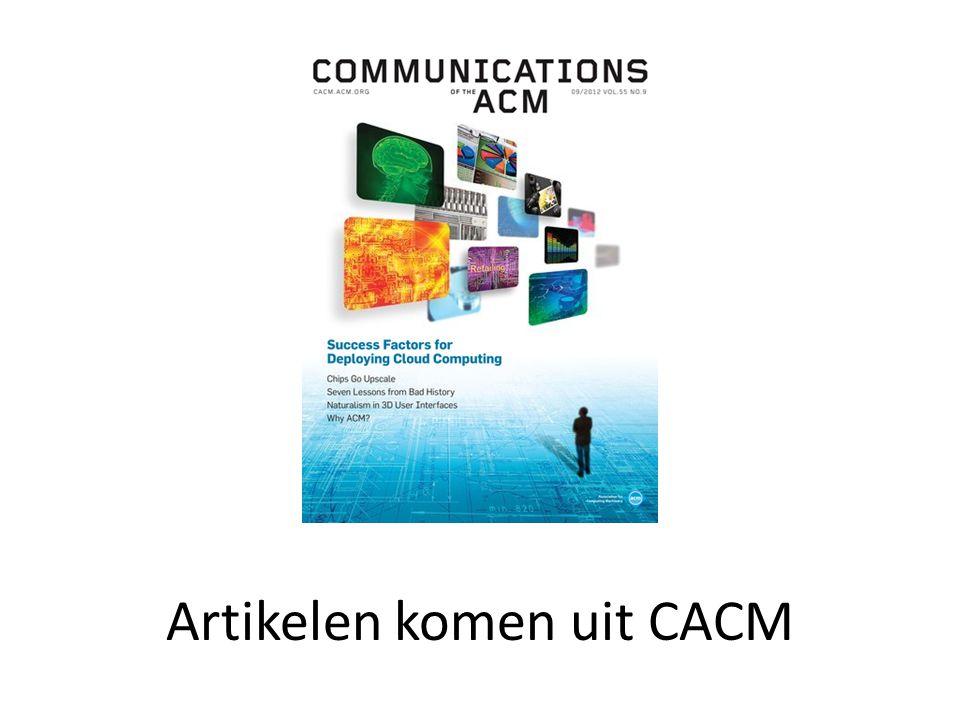 Artikelen komen uit CACM