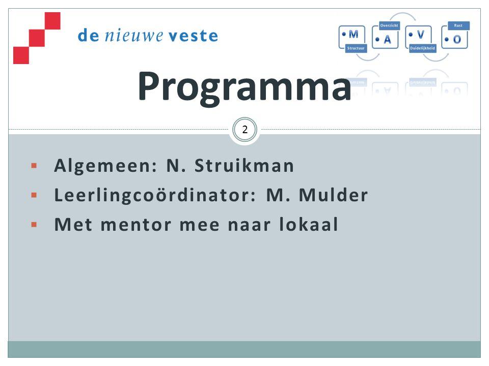 Programma Algemeen: N. Struikman Leerlingcoördinator: M. Mulder