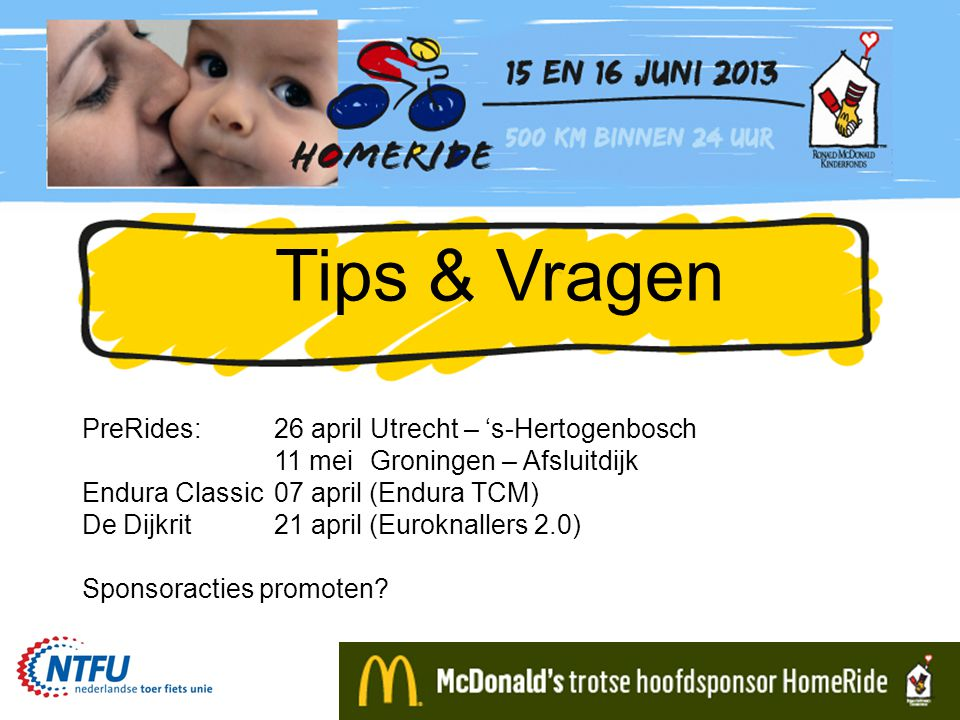 Tips & Vragen PreRides: 26 april Utrecht – 's-Hertogenbosch