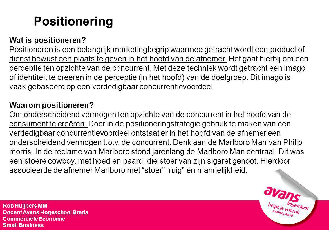 Positionering Wat is positioneren