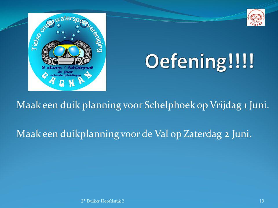 Oefening!!!! Maak een duik planning voor Schelphoek op Vrijdag 1 Juni.