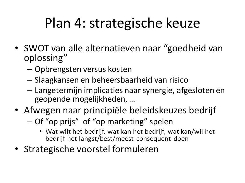 Plan 4: strategische keuze
