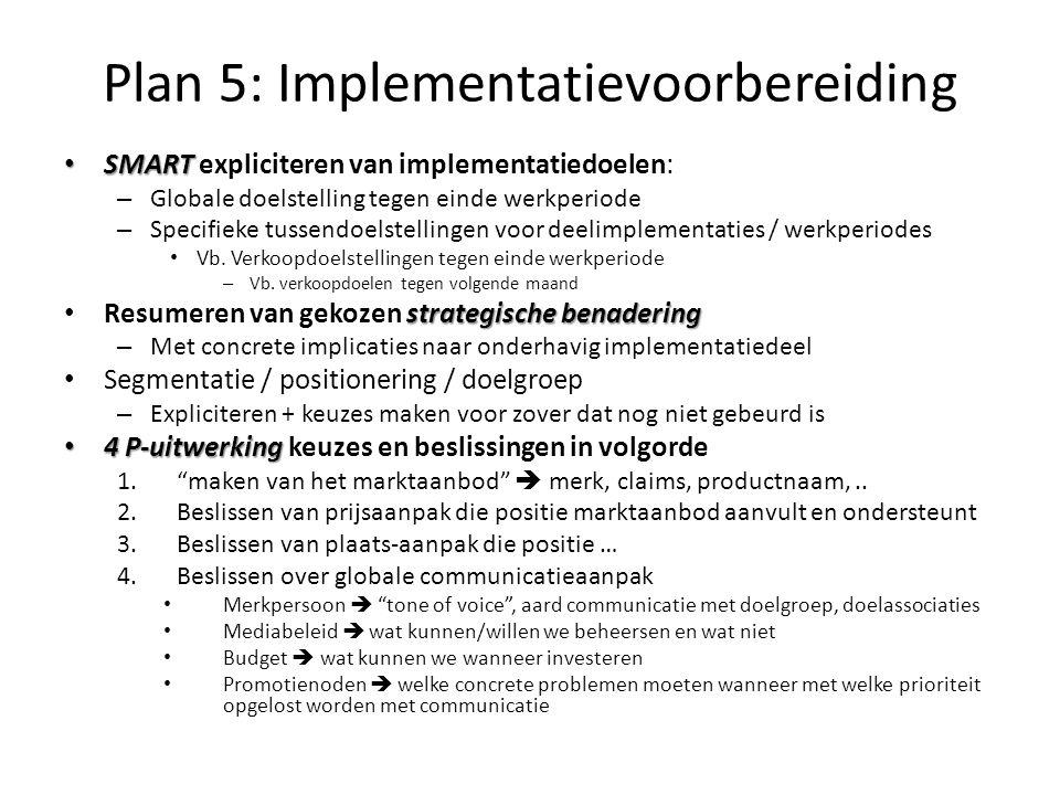 Plan 5: Implementatievoorbereiding