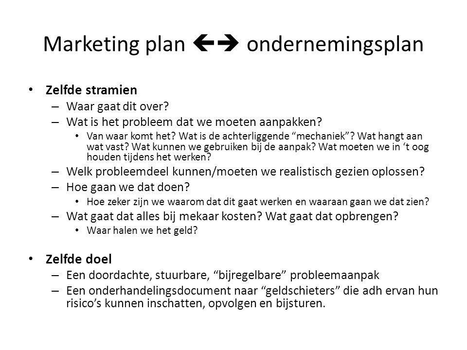 Marketing plan  ondernemingsplan