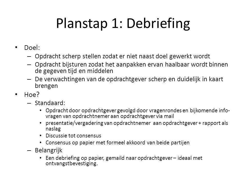 Planstap 1: Debriefing Doel: Hoe