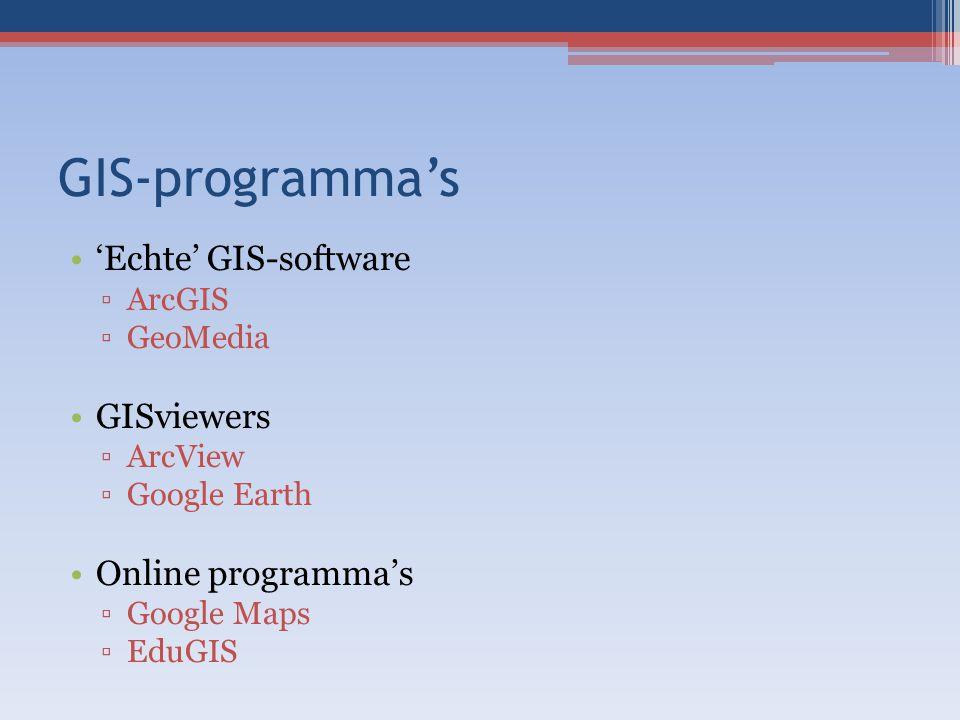 GIS-programma's 'Echte' GIS-software GISviewers Online programma's