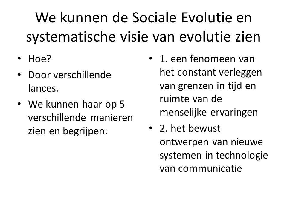 We kunnen de Sociale Evolutie en systematische visie van evolutie zien