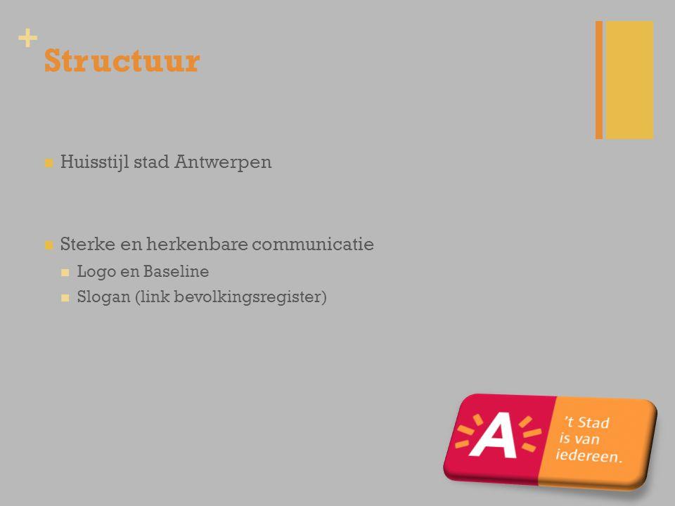 Structuur Huisstijl stad Antwerpen Sterke en herkenbare communicatie
