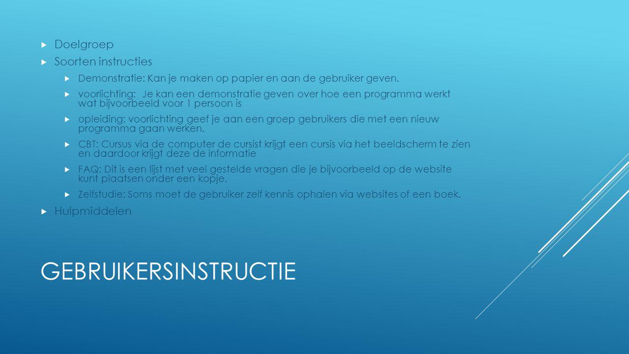 Gebruikersinstructie