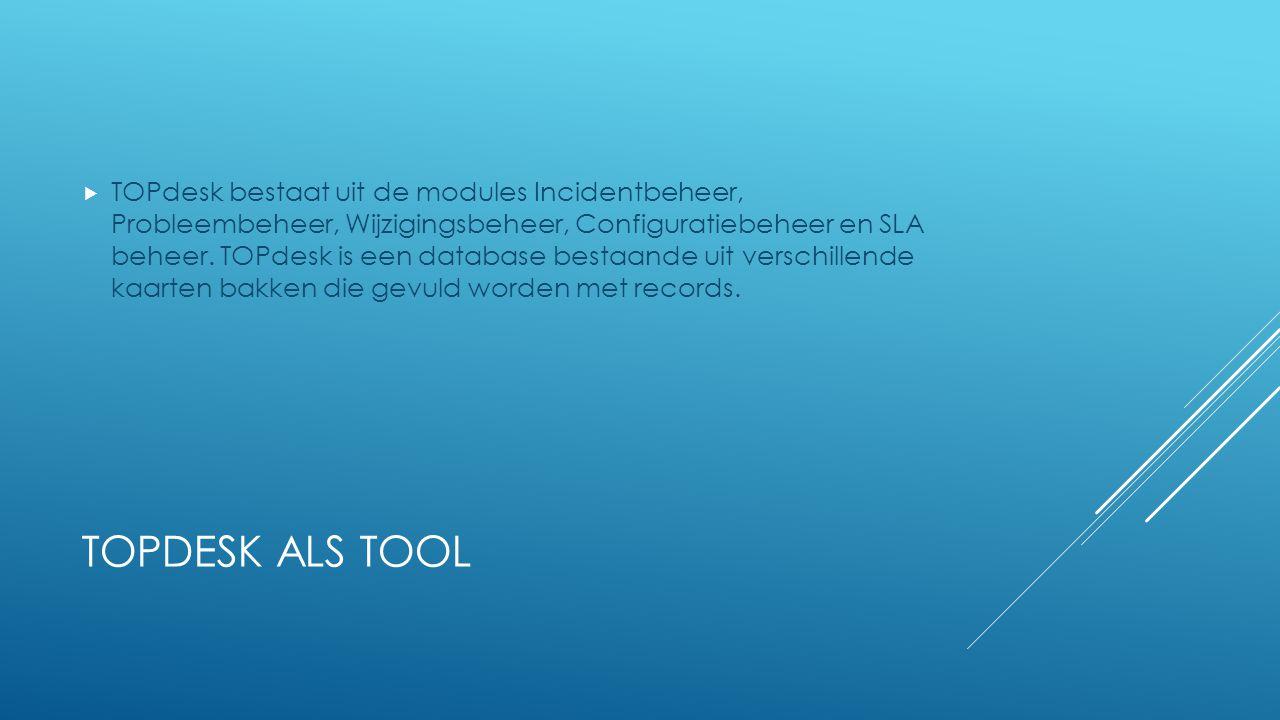 TOPdesk bestaat uit de modules Incidentbeheer, Probleembeheer, Wijzigingsbeheer, Configuratiebeheer en SLA beheer. TOPdesk is een database bestaande uit verschillende kaarten bakken die gevuld worden met records.