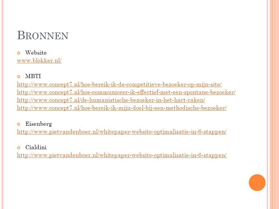 Bronnen Website www.blokker.nl/ MBTI
