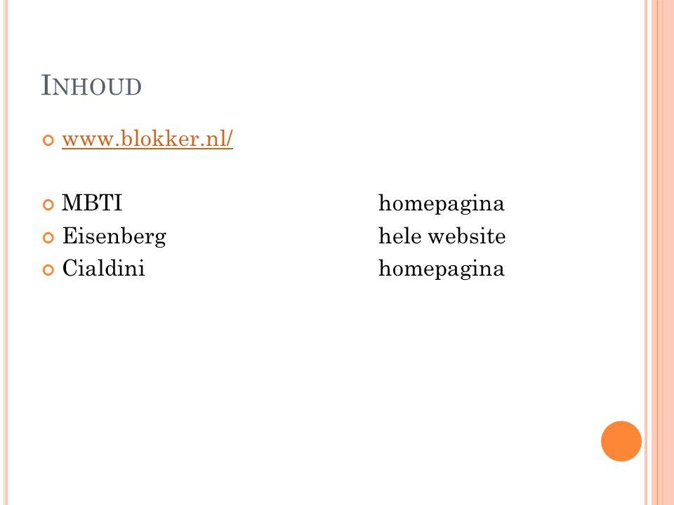 Inhoud www.blokker.nl/ MBTI homepagina Eisenberg hele website