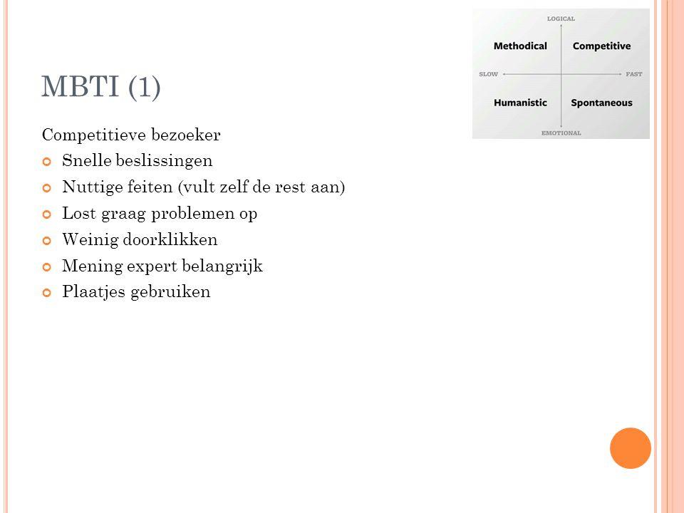 MBTI (1) Competitieve bezoeker Snelle beslissingen