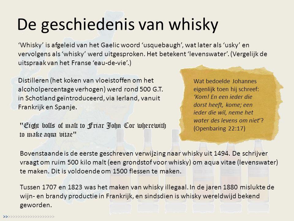 De geschiedenis van whisky