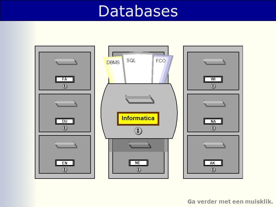Databases Informatica Ga verder met een muisklik. SQL FCO DBMS NE FA