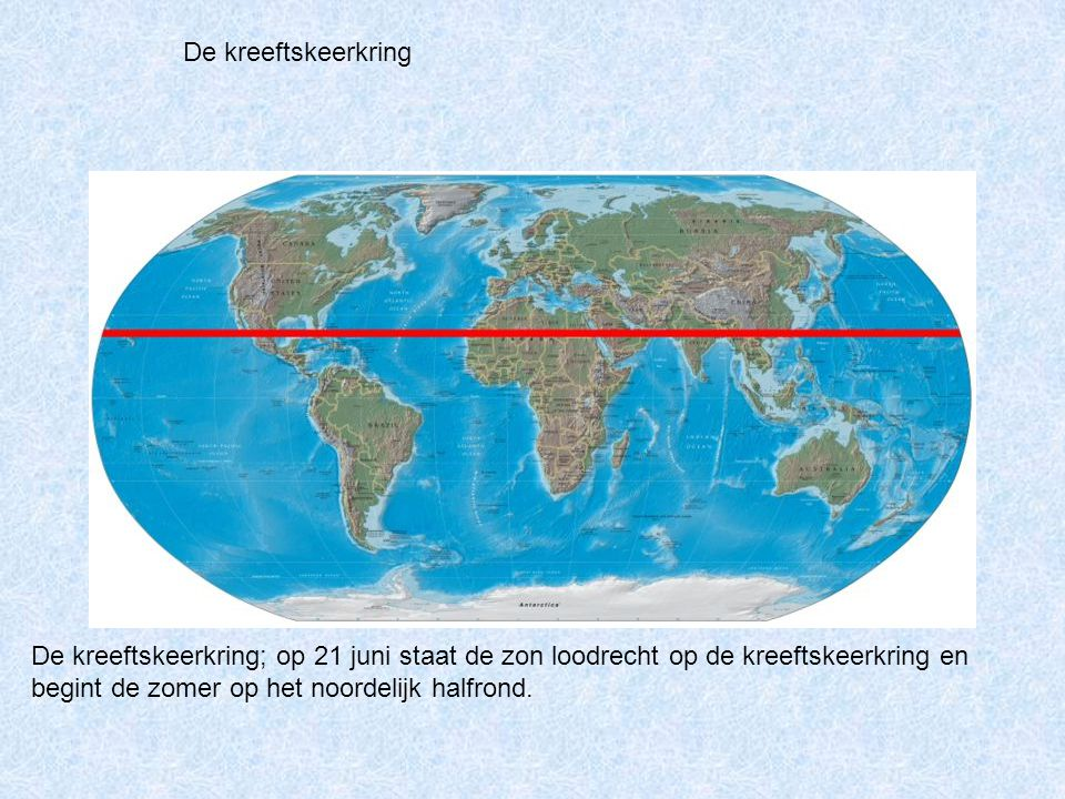 De kreeftskeerkring De kreeftskeerkring; op 21 juni staat de zon loodrecht op de kreeftskeerkring en begint de zomer op het noordelijk halfrond.