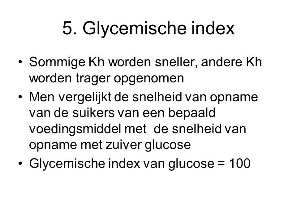 5. Glycemische index Sommige Kh worden sneller, andere Kh worden trager opgenomen.