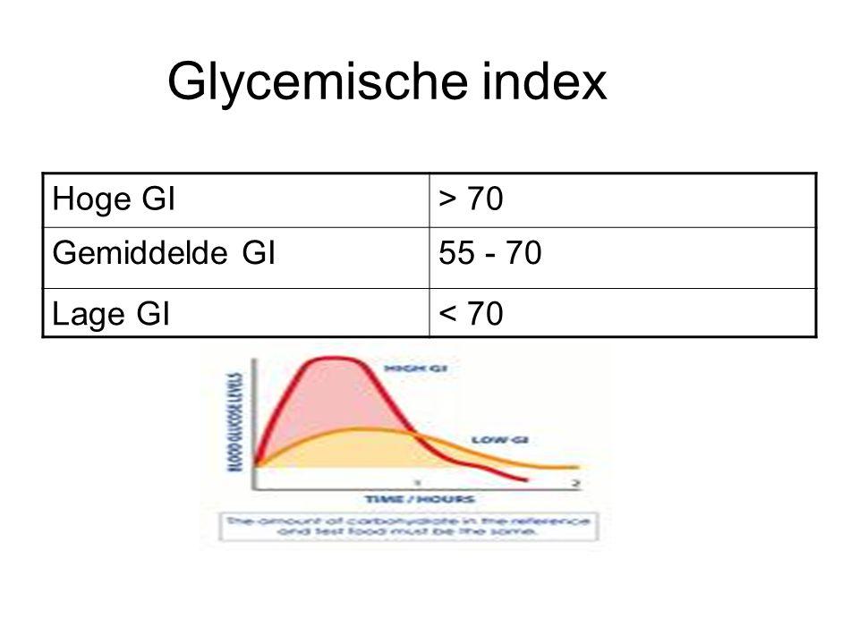Glycemische index Hoge GI > 70 Gemiddelde GI 55 - 70 Lage GI