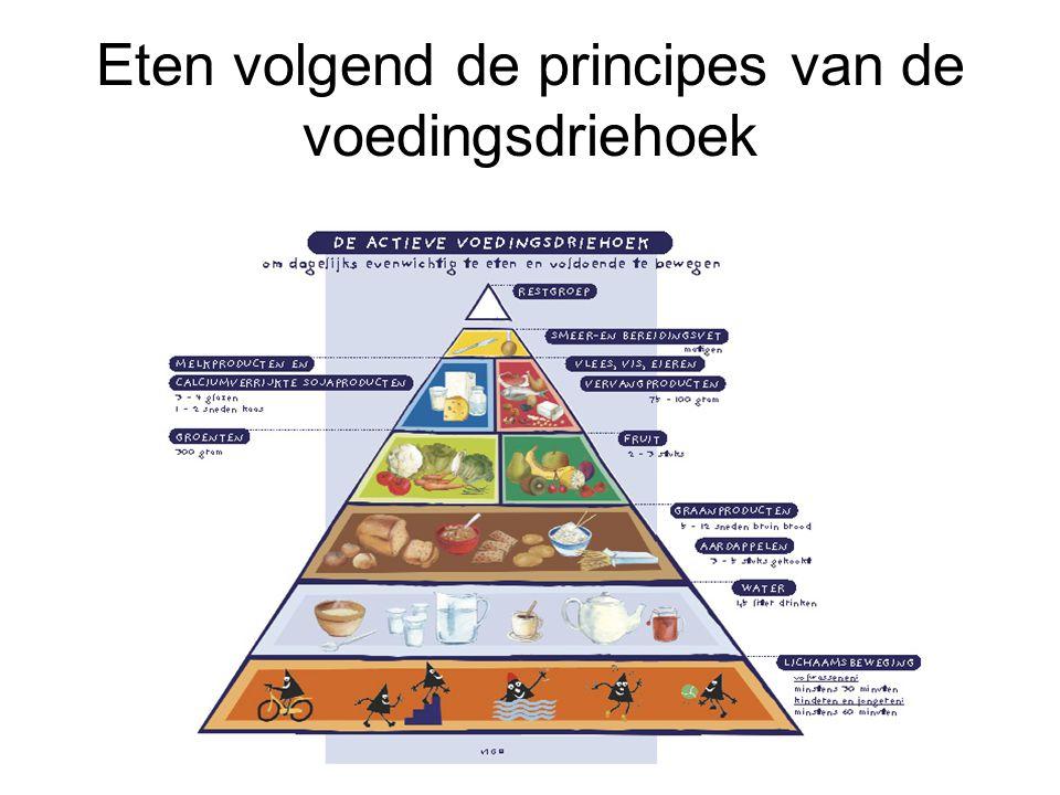Eten volgend de principes van de voedingsdriehoek