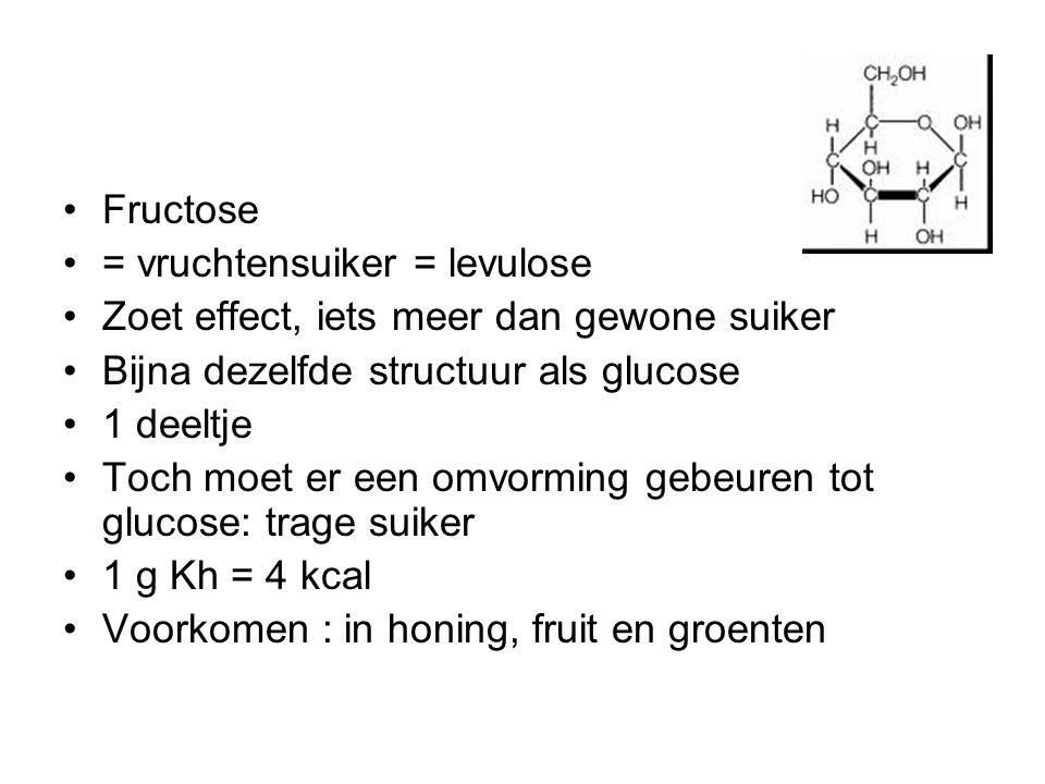 Fructose = vruchtensuiker = levulose. Zoet effect, iets meer dan gewone suiker. Bijna dezelfde structuur als glucose.