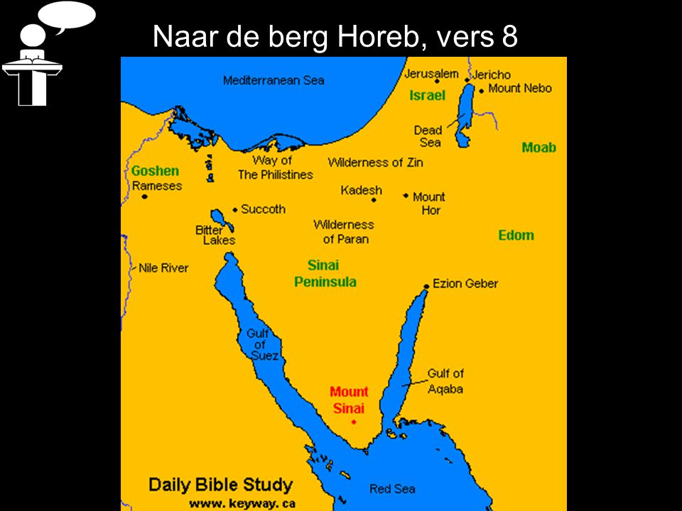 Naar de berg Horeb, vers 8