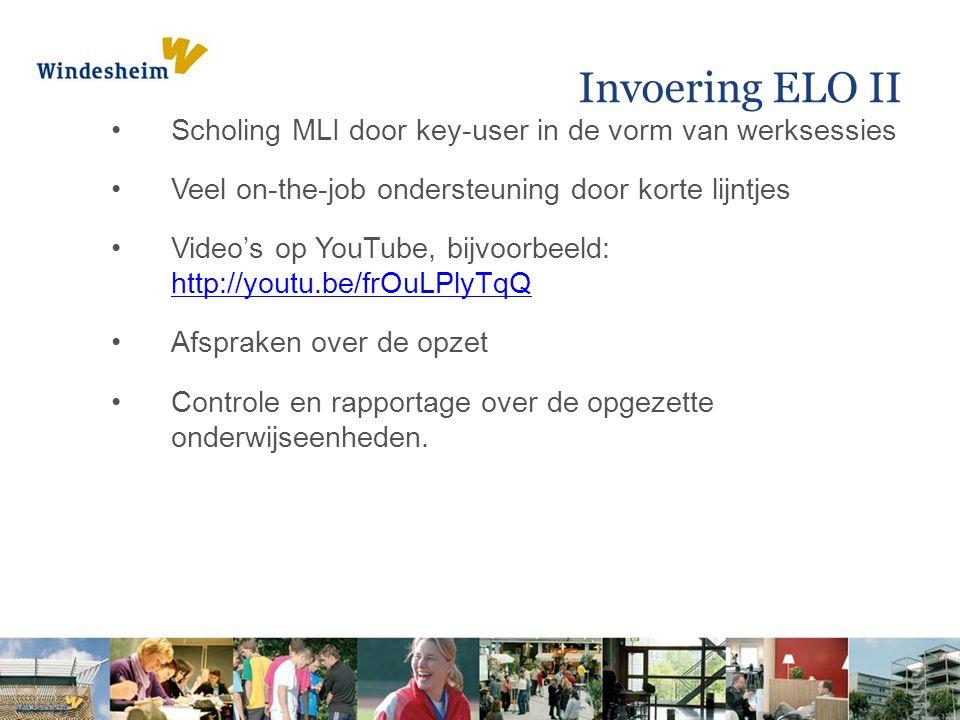 Invoering ELO II Scholing MLI door key-user in de vorm van werksessies