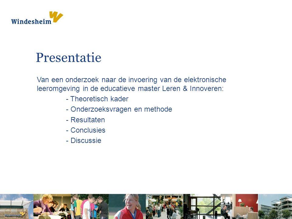 Presentatie Van een onderzoek naar de invoering van de elektronische leeromgeving in de educatieve master Leren & Innoveren: